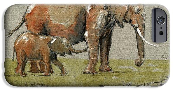 Elephant iPhone Cases - Elephants iPhone Case by Juan  Bosco