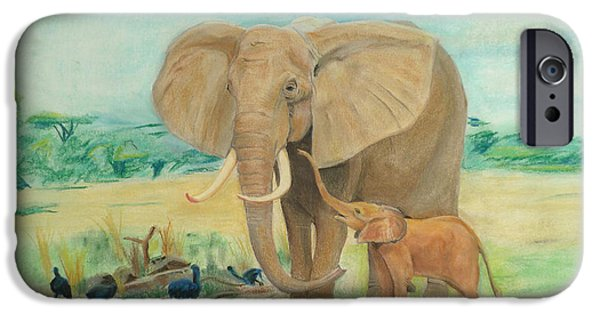 Elephants Pastels iPhone Cases - Elephants iPhone Case by Nick Froyd