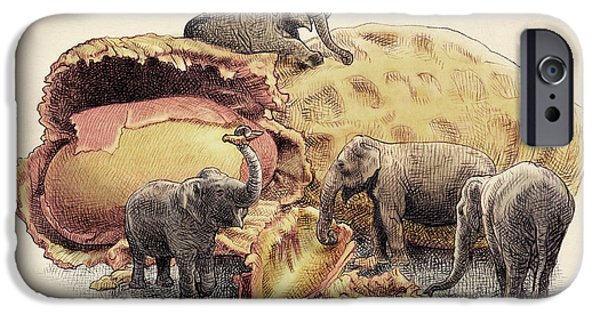 Animal Drawings iPhone Cases - Elephants Paradise iPhone Case by Eric Fan