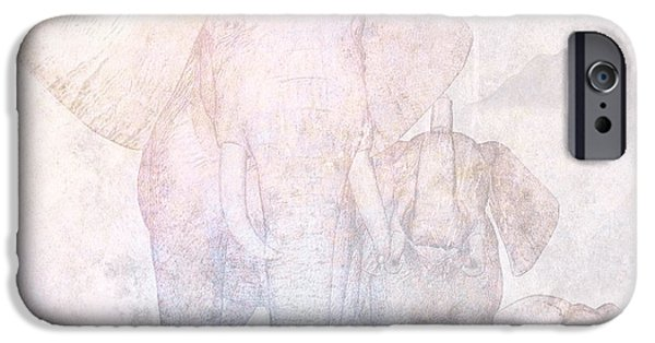 Elephant iPhone Cases - Elephants - Sketch iPhone Case by John Edwards