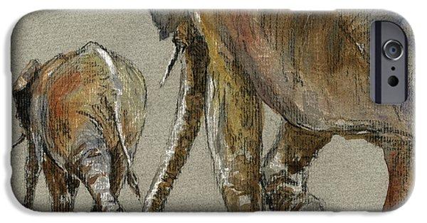 Walking iPhone Cases - Elephants walking iPhone Case by Juan  Bosco