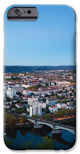 Midi iPhone Cases - Elevated View Of A Town At Dusk iPhone Case by Panoramic Images