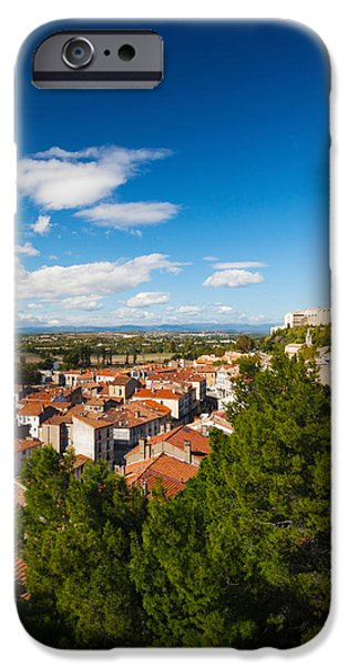 Languedoc iPhone Cases - Elevated View Of A Town With Cathedrale iPhone Case by Panoramic Images
