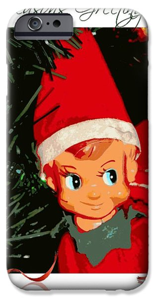 Michelle iPhone Cases - Elf on the Shelf Seasons Greetings iPhone Case by Michelle Frizzell-Thompson