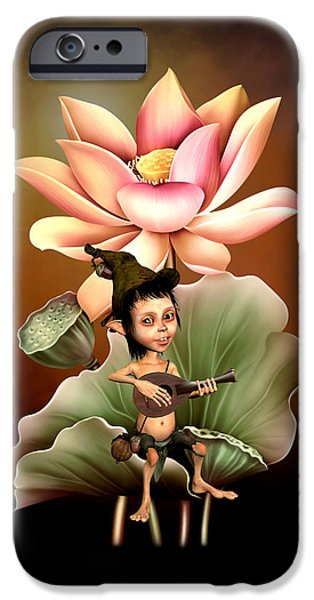 Lute Digital Art iPhone Cases - Elf playing the lute iPhone Case by John Junek