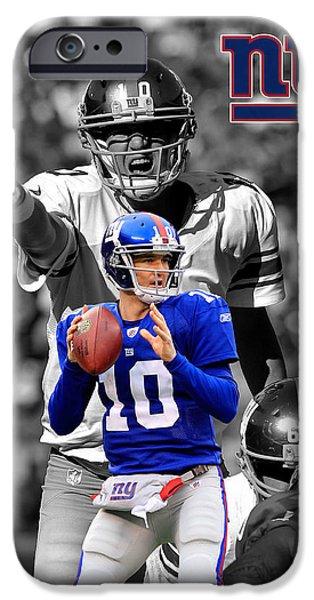New Goals iPhone Cases - Eli Manning Giants iPhone Case by Joe Hamilton