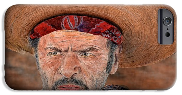 Epic iPhone Cases - Eli Wallach as Tuco in The Good the Bad and the Ugly Version II iPhone Case by Jim Fitzpatrick