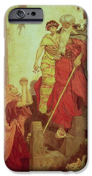 Beard iPhone Cases - Elijah Restoring The Widows Son, 1868 iPhone Case by Ford Madox Brown
