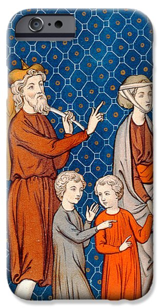 19th Century Drawings iPhone Cases - Elimelech and his Wife Naomi with their Two Sons iPhone Case by French School