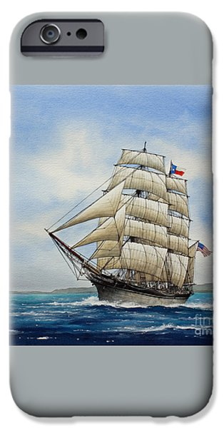 Tall Ship iPhone Cases - Elissa iPhone Case by James Williamson
