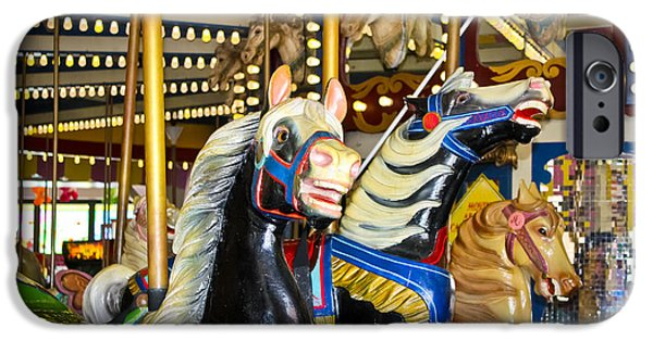 Casino Pier iPhone Cases - Elizabeth and Friends- Carousel Ponies iPhone Case by Colleen Kammerer