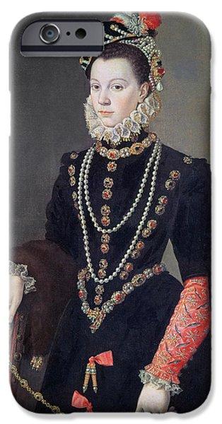 Queen Elizabeth iPhone Cases - Elizabeth de Valois iPhone Case by Alonso Sanchez Coello