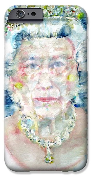 Queen Elizabeth iPhone Cases - ELIZABETH II - watercolor portrait iPhone Case by Fabrizio Cassetta