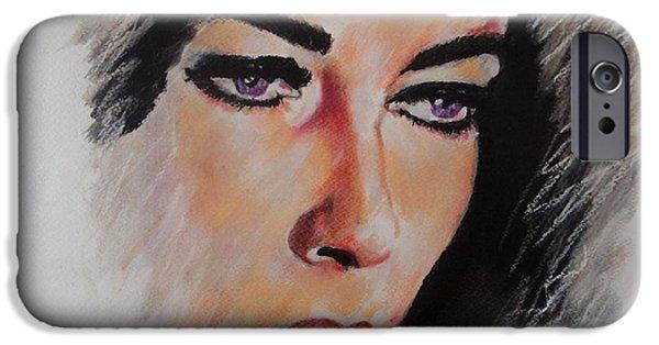Celebrities Art Pastels iPhone Cases - Elizabeth iPhone Case by Julie Hollis