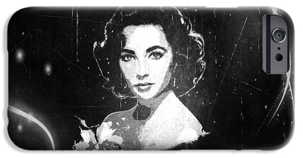 1950s Movies Digital iPhone Cases - Elizabeth Taylor - Black and White Film iPhone Case by Absinthe Art By Michelle LeAnn Scott