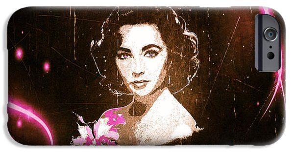 1950s Movies iPhone Cases - Elizabeth Taylor - Pink Film iPhone Case by Absinthe Art By Michelle LeAnn Scott