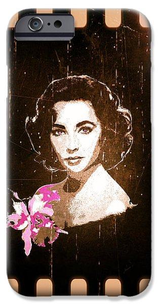 Elizabeth Taylor - Pink Film iPhone Case by Absinthe Art By Michelle LeAnn Scott