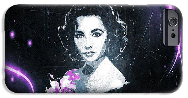 1950s Movies iPhone Cases - Elizabeth Taylor - Purple Film iPhone Case by Absinthe Art By Michelle LeAnn Scott
