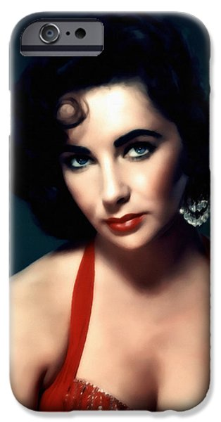 Young Mixed Media iPhone Cases - Elizabeth Taylor  iPhone Case by Georgiana Romanovna