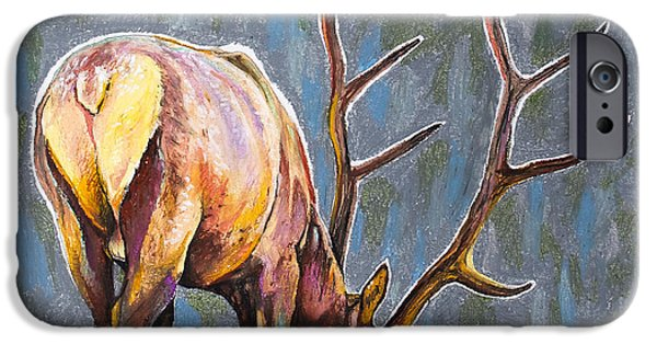 Outdoors Pastels iPhone Cases - Elk iPhone Case by Aaron Spong