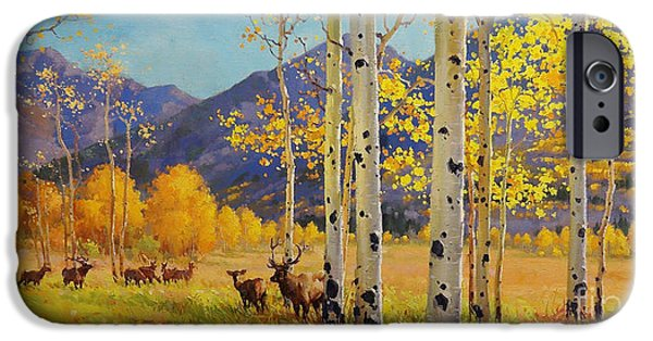 Breathtaking iPhone Cases - Elk Herd In Aspen Grove iPhone Case by Gary Kim