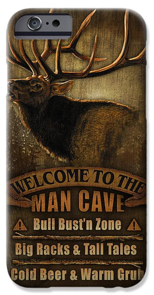 Jq iPhone Cases - Elk Man Cave Sign iPhone Case by JQ Licensing