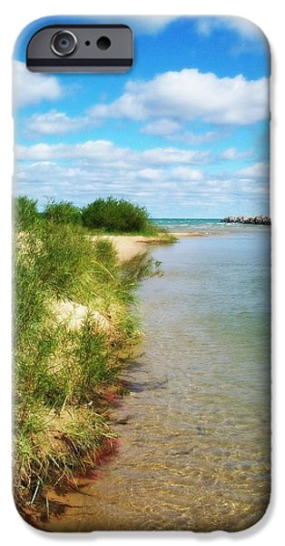 Michelle Photographs iPhone Cases - Elk River with Fluffy Clouds iPhone Case by Michelle Calkins
