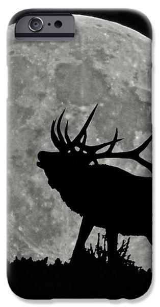 Elk silhouette on moon iPhone Case by Ernie Echols