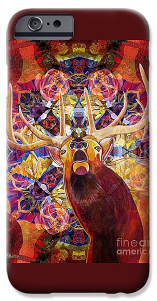 Metaphysical Paintings iPhone Cases - Elk Spirits in the Garden iPhone Case by Joseph J Stevens