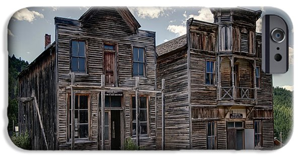 Lodes iPhone Cases - Elkhorn Ghost Town Public Halls - Montana iPhone Case by Daniel Hagerman