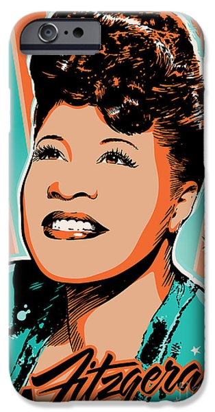 Business Digital Art iPhone Cases - Ella Fitzgerald Pop Art iPhone Case by Jim Zahniser
