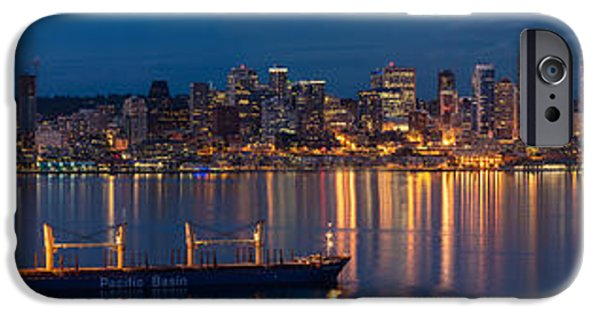 Twilight iPhone Cases - Elliott Bay Seattle Skyline Night Reflections  iPhone Case by Mike Reid