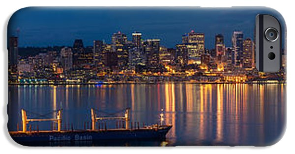 Seattle iPhone Cases - Elliott Bay Seattle Skyline Night Reflections  iPhone Case by Mike Reid