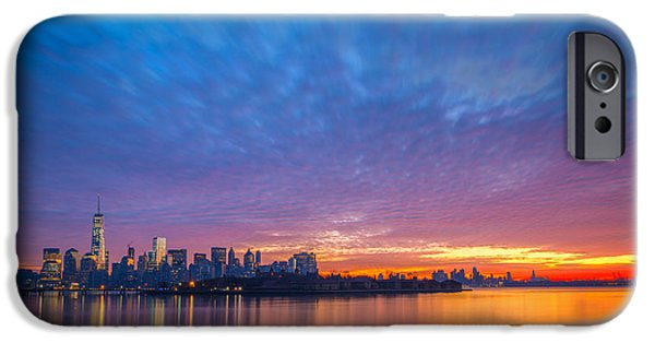 Twin Towers Nyc iPhone Cases - Ellis Island and Manhattan Sunrise iPhone Case by Michael Ver Sprill