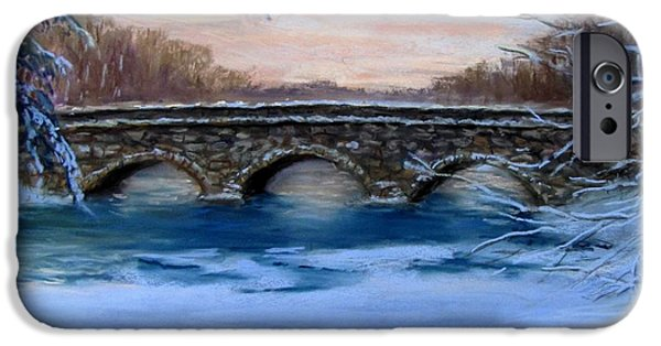 Concord. Winter iPhone Cases - Elm Street Bridge on a Winters Morn iPhone Case by Jack Skinner