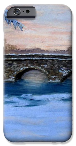 Elm Street Bridge on a Winter's Morn iPhone Case by Jack Skinner