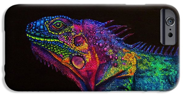 Iguana iPhone Cases - E.l.o. iPhone Case by Christine Cholowsky
