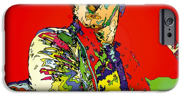 Elton John Paintings iPhone Cases - Elton in Red iPhone Case by John Farr