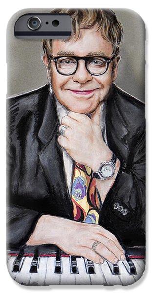 Singer Mixed Media iPhone Cases - Elton John iPhone Case by Melanie D