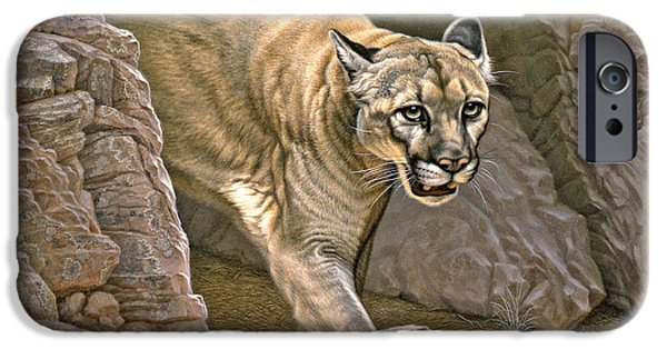 Canyons Paintings iPhone Cases - Elusive Hunter - Cougar iPhone Case by Paul Krapf