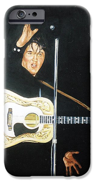 1950s Movies Paintings iPhone Cases - Elvis 1956 iPhone Case by Bryan Bustard