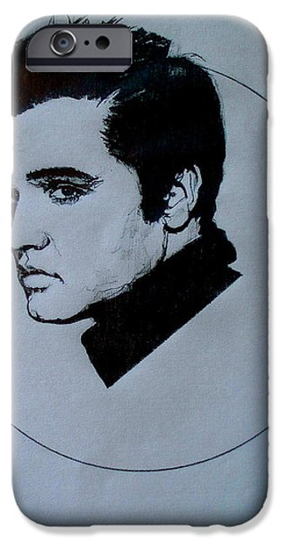 1950s Portraits Drawings iPhone Cases - Elvis Presley iPhone Case by Sean Connolly