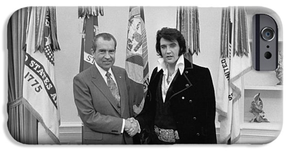 Oval Office iPhone Cases - Elvis and the President iPhone Case by Mountain Dreams