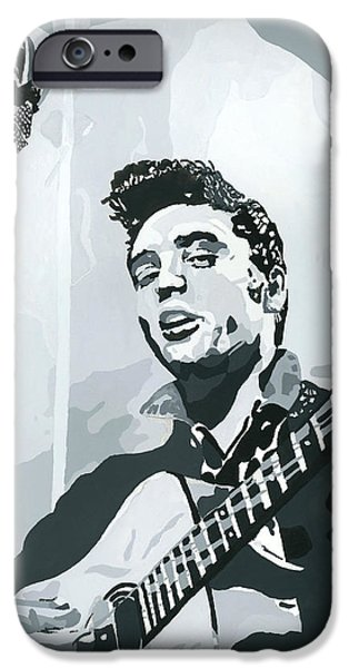 Elvis Presley Paintings iPhone Cases - Elvis at Sun iPhone Case by Suzanne Gee