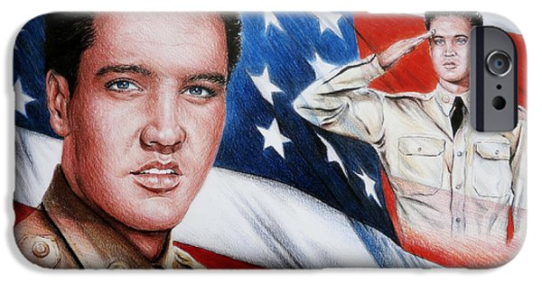 Celebrities Art Drawings iPhone Cases - Elvis Patriot  iPhone Case by Andrew Read