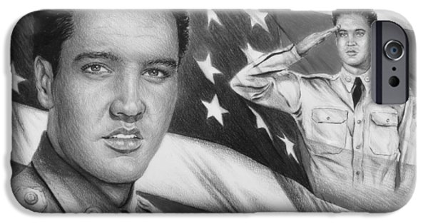 4th July Drawings iPhone Cases - Elvis Patriot bw signed iPhone Case by Andrew Read