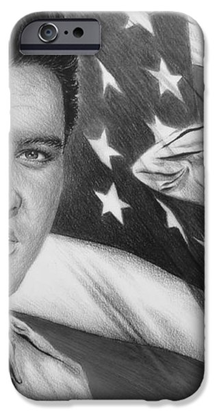 Elvis Patriot bw signed iPhone Case by Andrew Read