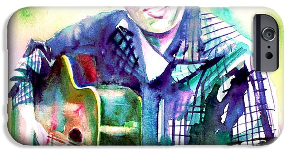 Elvis Presley Paintings iPhone Cases - ELVIS playing the guitar - watercolor portrait iPhone Case by Fabrizio Cassetta