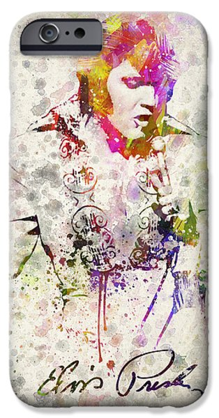 Famous Musician iPhone Cases - Elvis Presley iPhone Case by Aged Pixel