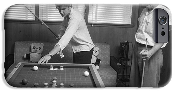 Archives iPhone Cases - Elvis Presley and Vernon Playing Bumper Pool 1956 iPhone Case by The Phillip Harrington Collection